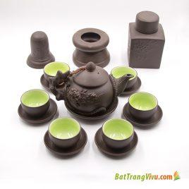 Bộ ấm chén gốm tử sa men đen – hoa phù dung – đầy đủ phụ kiện