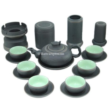 Bộ sản phẩm gốm – Trúc đào men đen và phụ kiện
