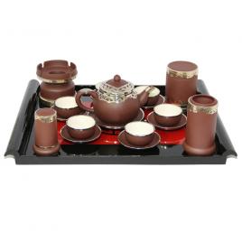 Bộ ấm pha trà dáng chuông – đầy đủ phụ kiện – bọc đồng cao cấp