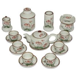 Bộ pha trà hướng thiện – vẽ hoa sen – đầy đủ phụ kiện