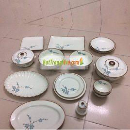 Bộ bát đĩa Bát Tràng – BATO men trắng sữa vẽ hoa đào