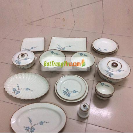 Bộ đồ ăn Bát Tràng – BATO men trắng sữa vẽ hoa đào