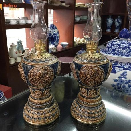Đèn dầu thờ khắc nổi – họa tiết rồng – men nâu – cao 32 cm