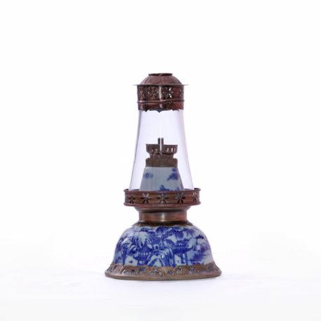 Đèn dầu thờ 2 chức năng – men lam cổ – cao 21 cm