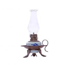 Đèn dầu thờ – dáng đèn đĩa – men lam cổ – cao 20 cm