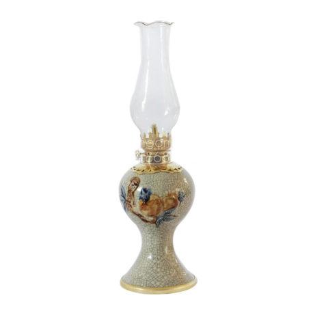 Đèn dầu thờ đắp nổi trúc đào – men rạn nổi – cao 27 cm
