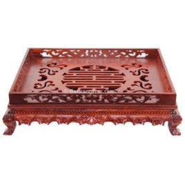 Khay đựng ấm chén gỗ hương cao cấp 3 – 43cmx33cm
