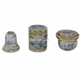 Bộ phụ kiện gốm – gạt tàn – lọ chè tròn – ống tăm – men rạn