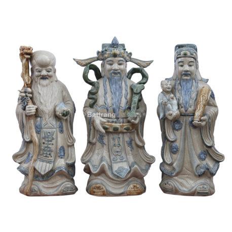 Tượng Phúc Lộc Thọ – Men giả cổ – cao 71cm