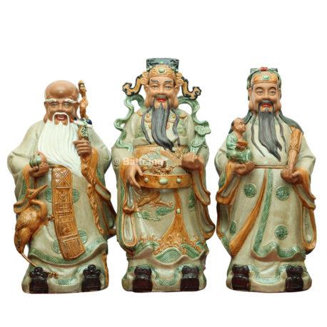 Tượng Tam Đa – Men rạn – Cao 100cm Bộ tượng phật gồm 3 ông. Men: Rạn da Cao 100cm Rộng 45cm