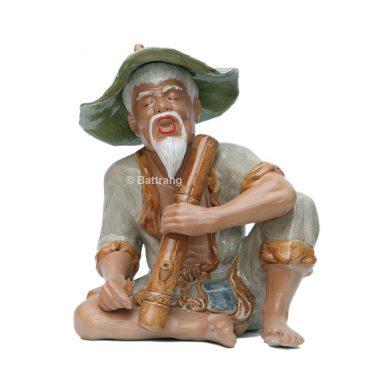 Tượng ông lão hút thuốc lào – men rạn – cao 43cm, rộng 33cm