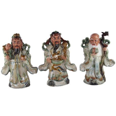 Tượng Phúc Lộc Thọ – men rạn cổ – cao 32 cm – hàng kỹ