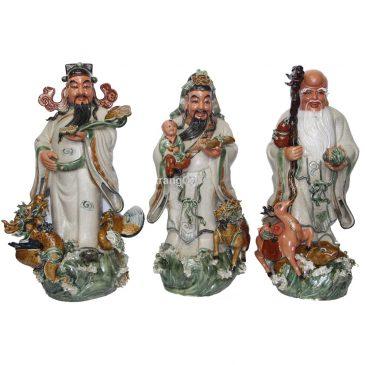 Tượng Phúc Lộc Thọ – men rạn cổ – cao 70 cm