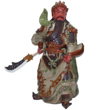 Tượng Quan Công mặt hồng – Men Rạn – Cao 90cm