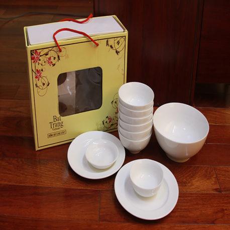 Bát đĩa quà tặng men trắng