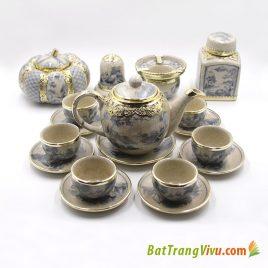 Bộ ấm chén dáng Minh Long – men rạn cổ bọc đồng – đầy đủ phụ kiện