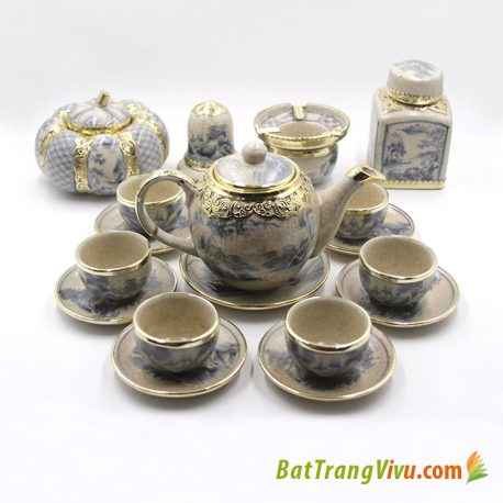 Bộ ấm chén dáng Minh Long – men rạn cổ bọc đồng – đầy đủ phụ kiện7